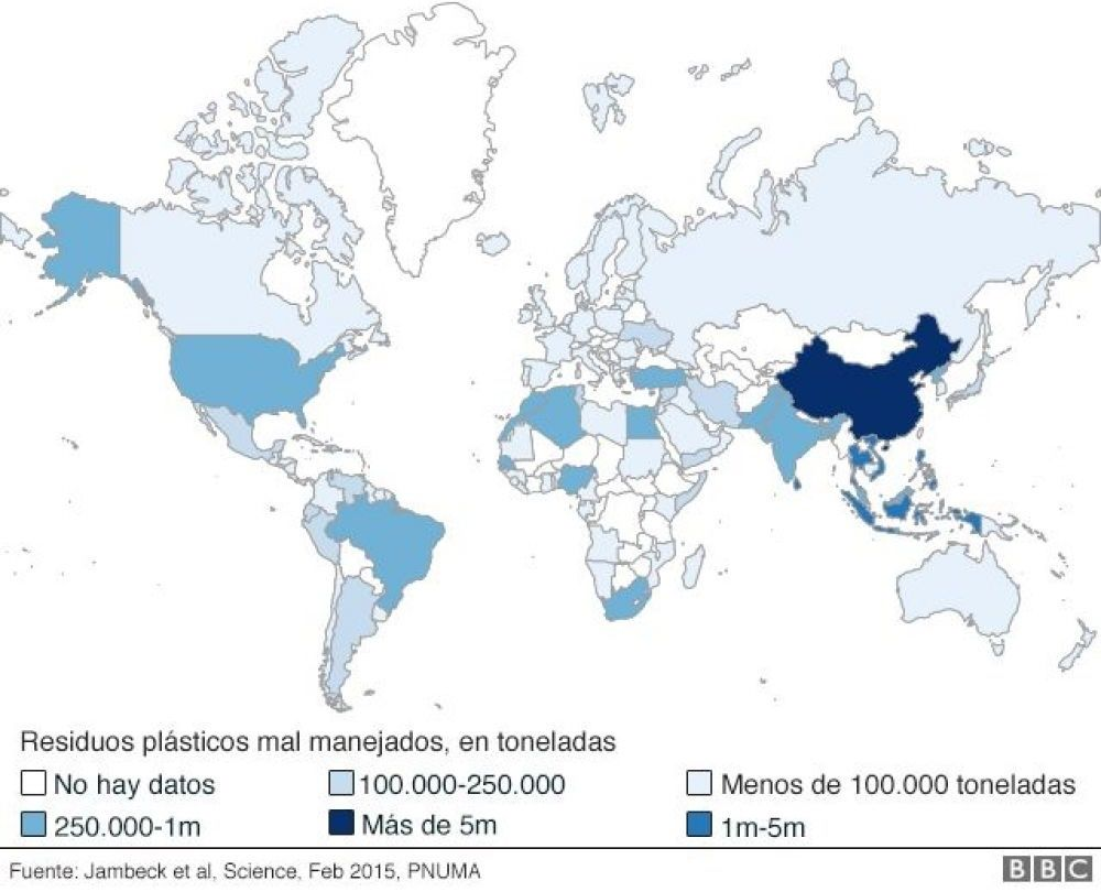 plagas de plásticos en los océanos mapa